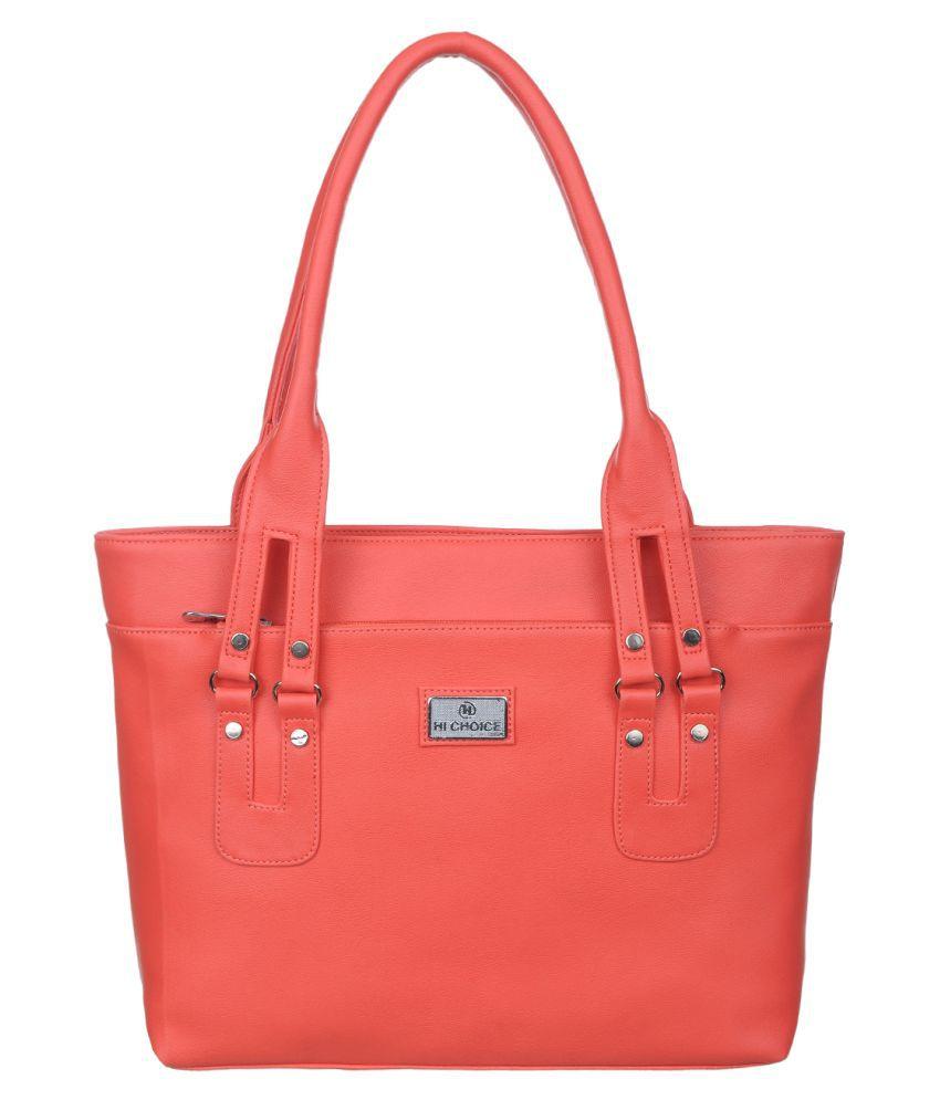 Hi Choice Red Artificial Leather Shoulder Bag