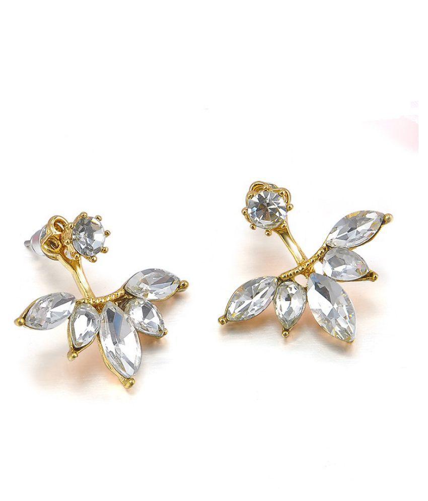 Fabula Jewellery White Crystal Floral Ear Jacket Fashion Stud Fashion Earrings for Women & Girls