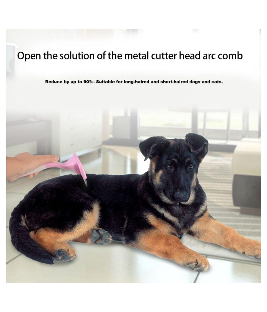 Pet Dog Cat Hair Removal Brush Metal Cutter Head Open Knot Arc Comb (M)