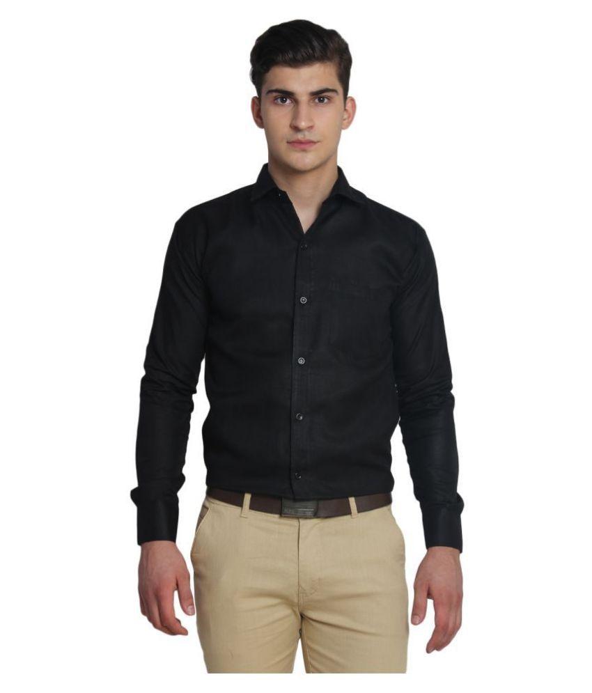 Ediinwolf 100 Percent Cotton Black Solids Shirt