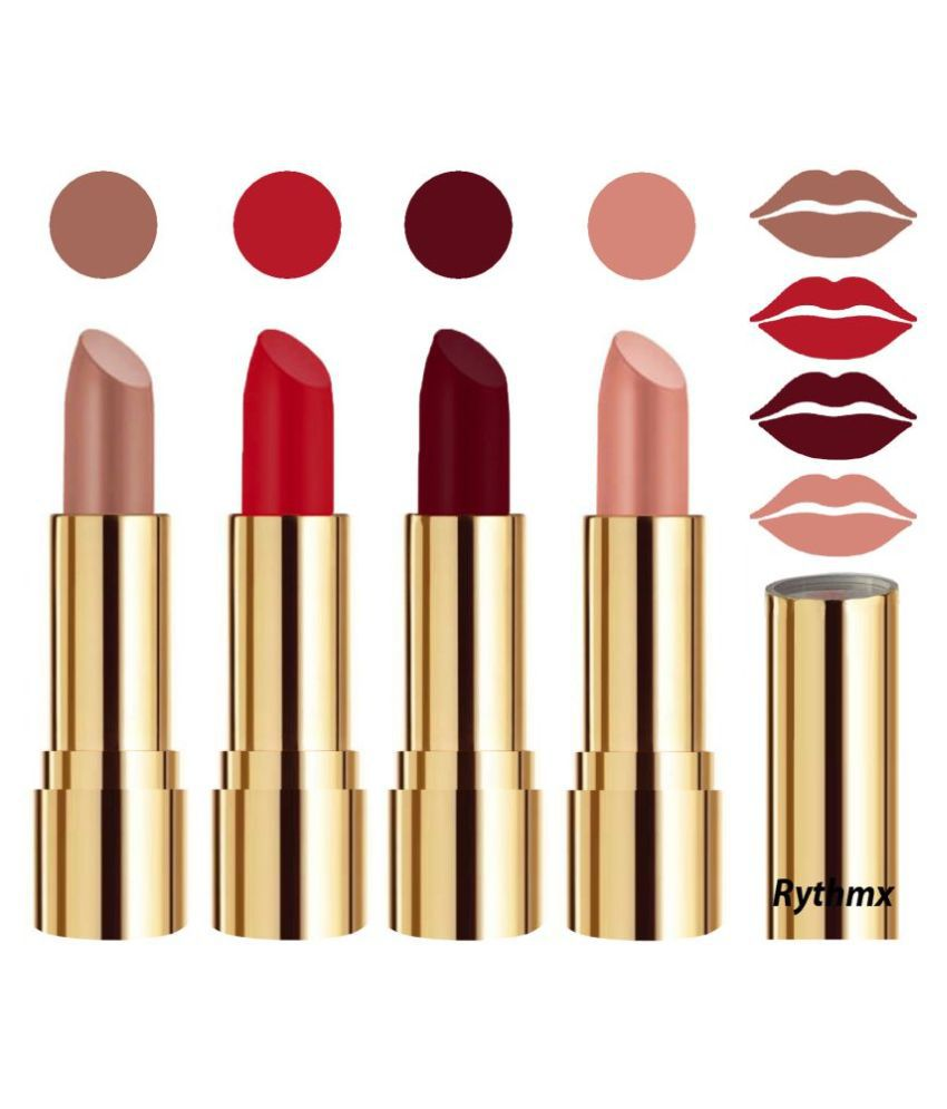 Rythmx Professional Timeless 4 Colors Lipstick Nude,Red,Maroon, Peach Pack of 4 16 g