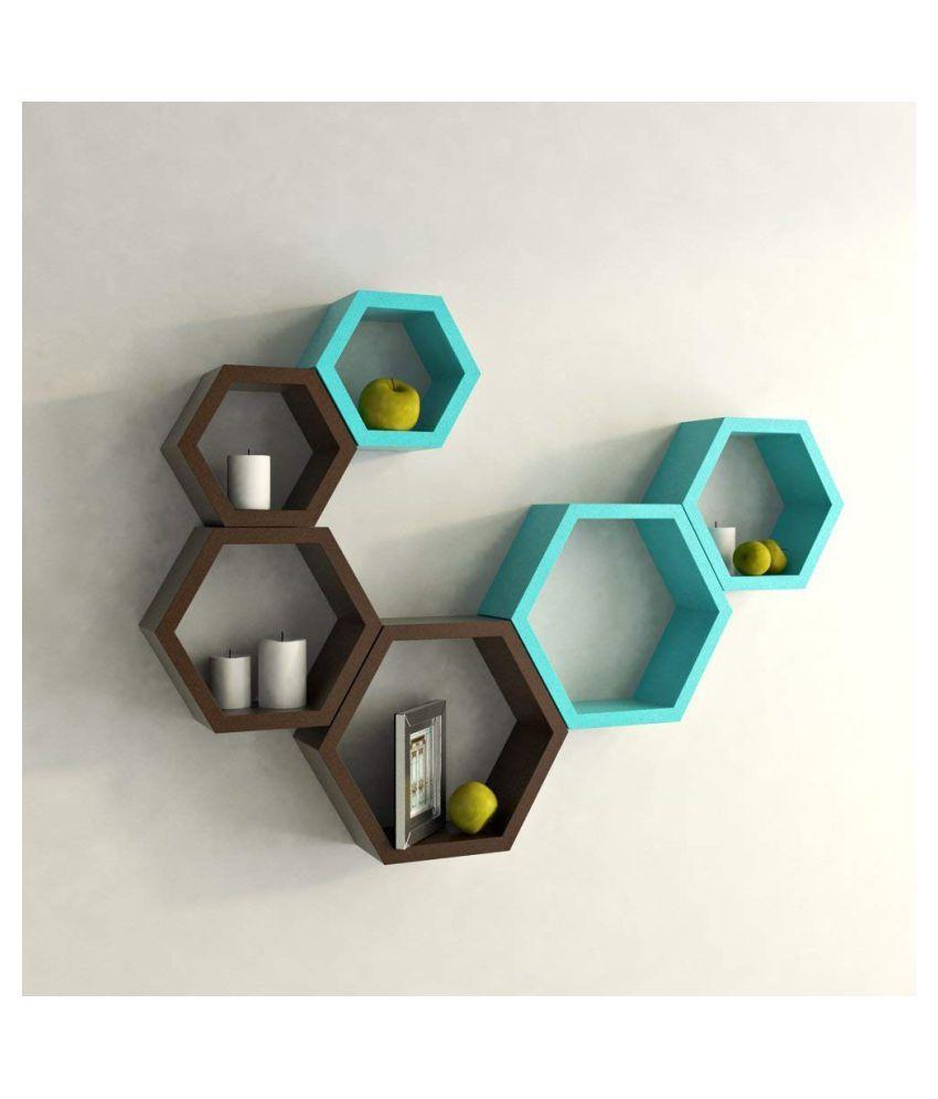 UNIVERSAL WOOD HANDICRAFTS Hexagonal Wall Shelf MDF Set of 6 (Brown&Blue)