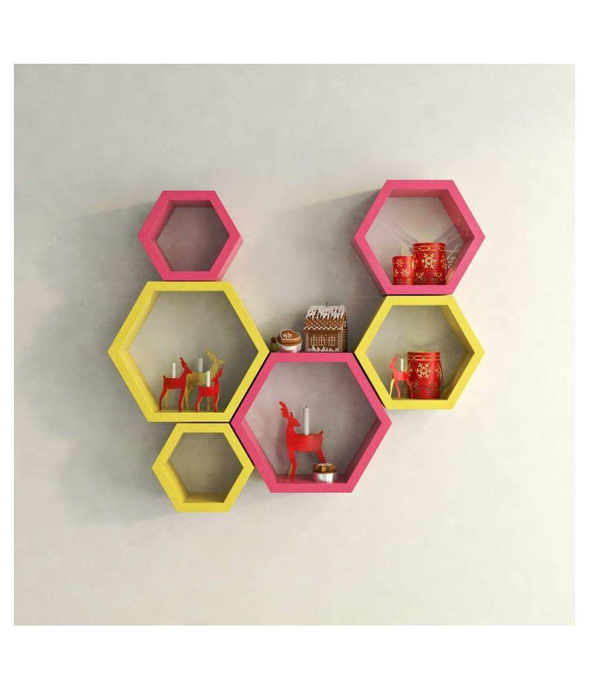 UNIVERSAL WOOD HANDICRAFTS Hexagonal Wall Shelf MDF Set of 6 (Yellow&Pink)