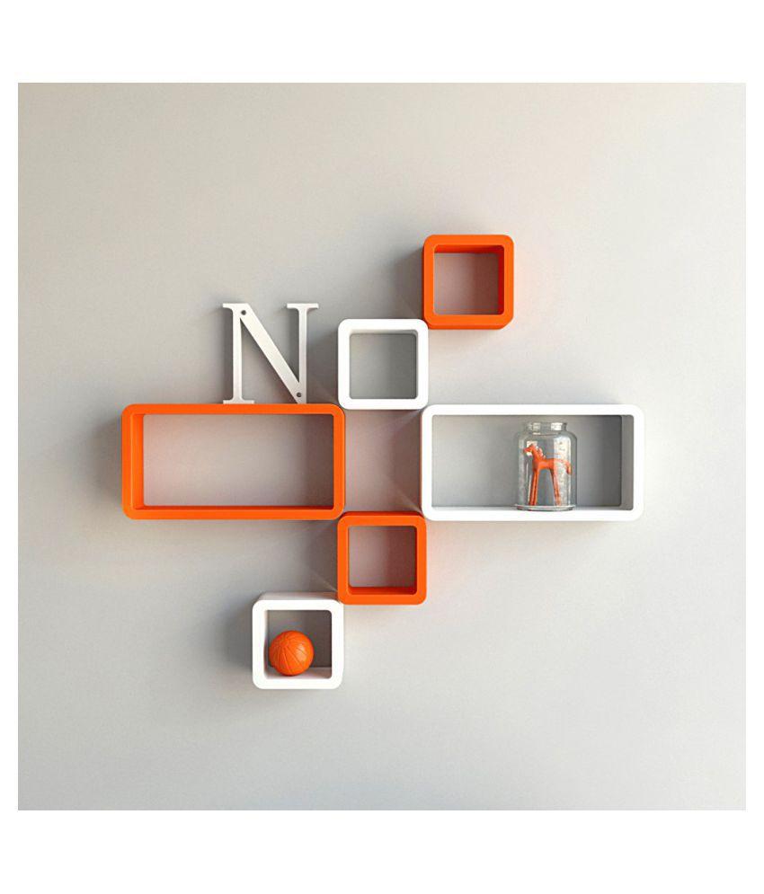 Universal Wood Handicrafts Cube Shape Wall Shelves Set Of 6 Modern Rectangle (White&Orange)