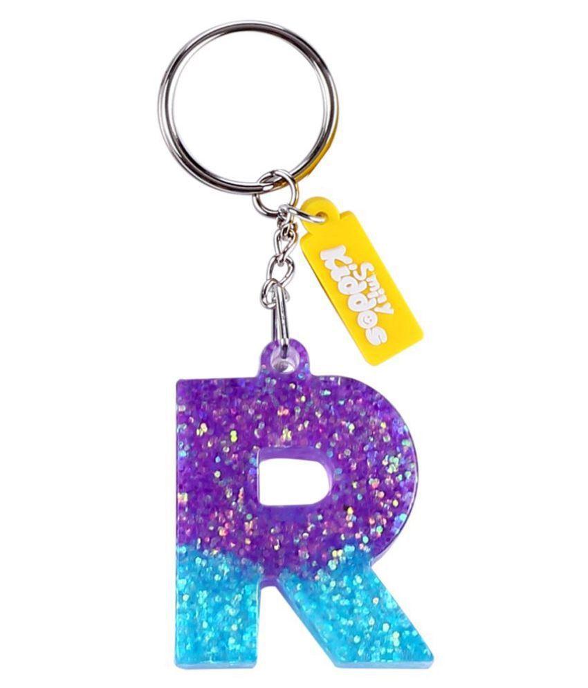 Lilac Glitter Letter R Keyring