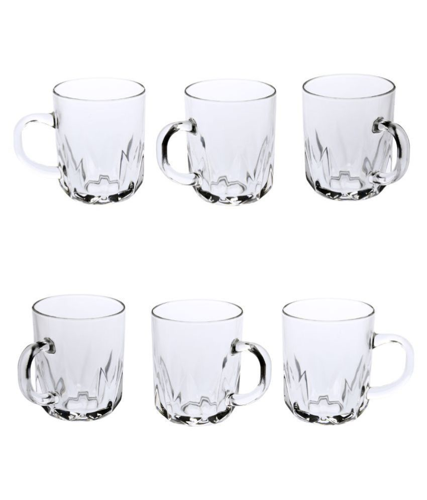 AFAST Glass AFAST  Glass Tea Cup Set Of 6  Clear & transparent,New Shape & design,Multi Uses Coffee Cup 6 Pcs 200 ml