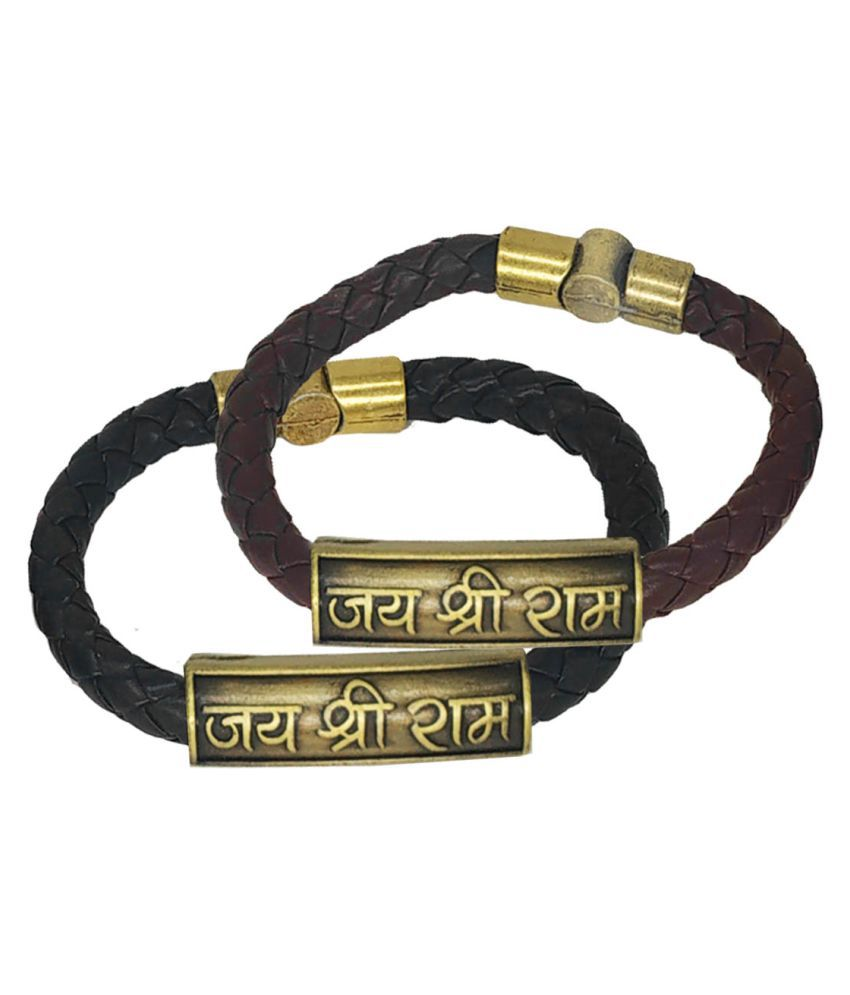Men Style Jai Shree Ram Charm ID Black Brown Gold  Leather Stainless Steel Combo Bracelet