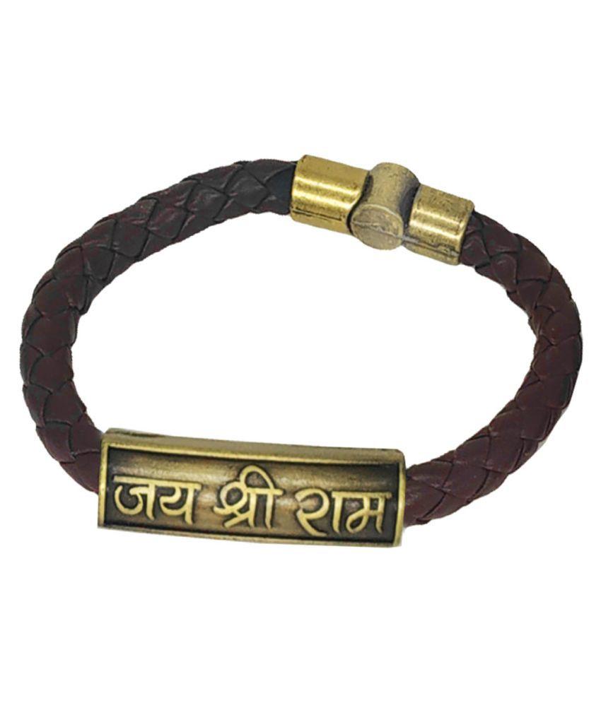 Men Style Jai Shree Ram Charm ID Brown Gold Leather Stainless Steel Bracelet