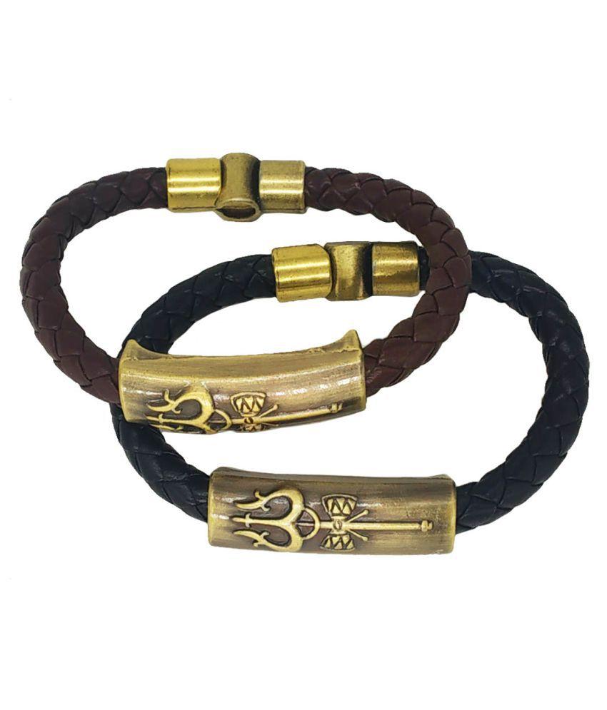 Men Style Shiva Trishula Damaru Charm ID Black Brown Gold  Leather Stainless Steel Combo Bracelet