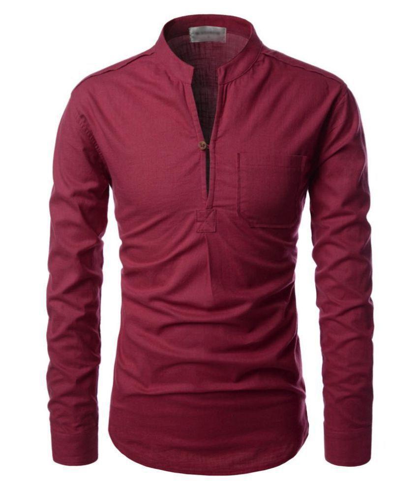 Vida Loca 100 Percent Cotton Maroon Solids Shirt