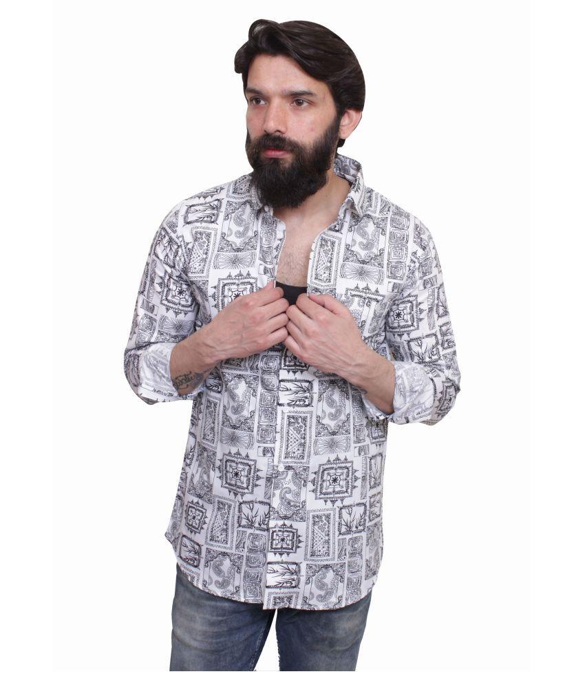 leeonn 100 Percent Cotton White Prints Shirt