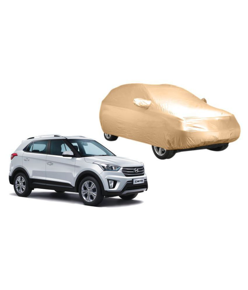 Alexus Car Cover for Hyundai Creta (Mirror Pockets) (Beige)