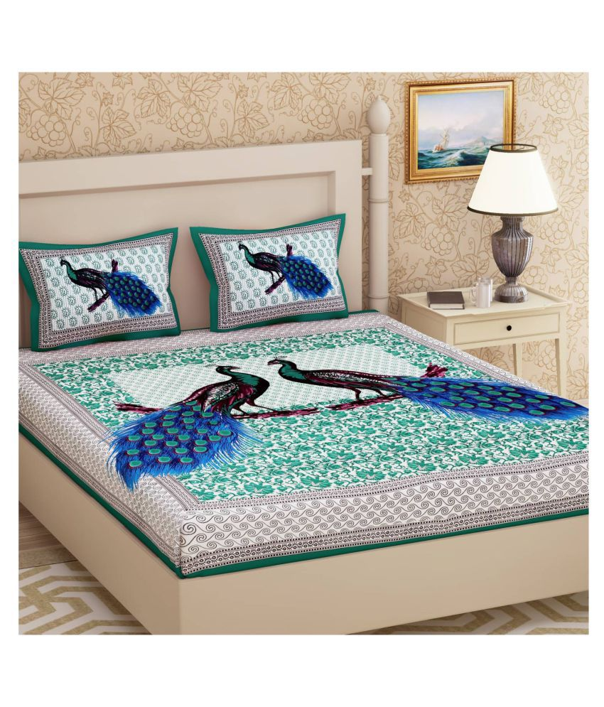 HandiCave Cotton Double Bedsheet with 2 Pillow Covers