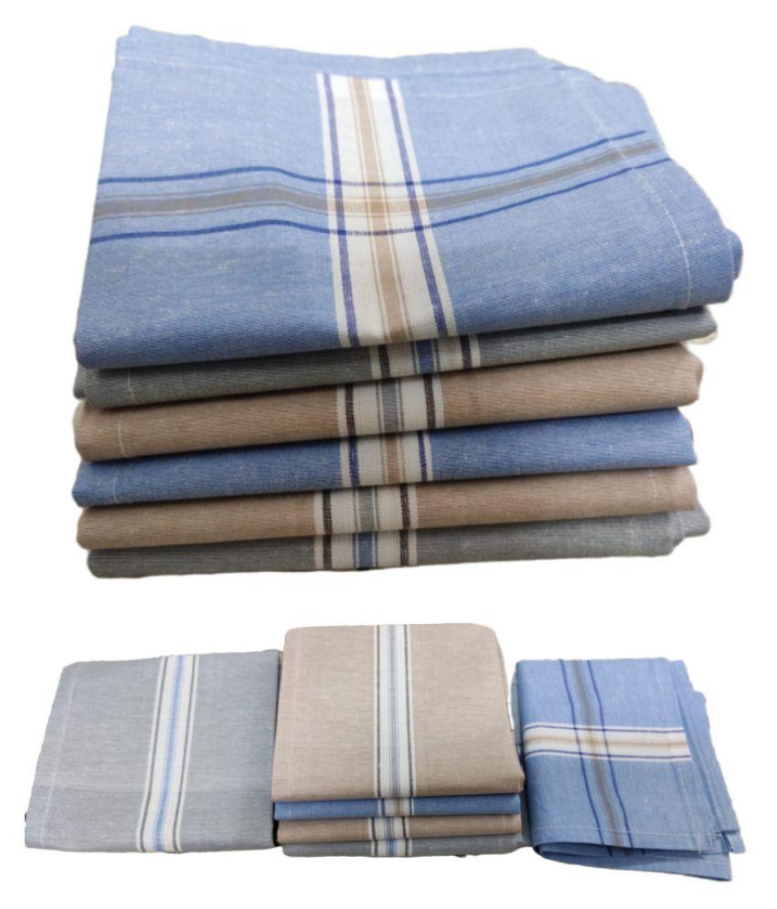 Jenny denial 12pcs stripes ,Cotton Handkerchief, Machine washable Rumal, Hankey For Man(RAJA)