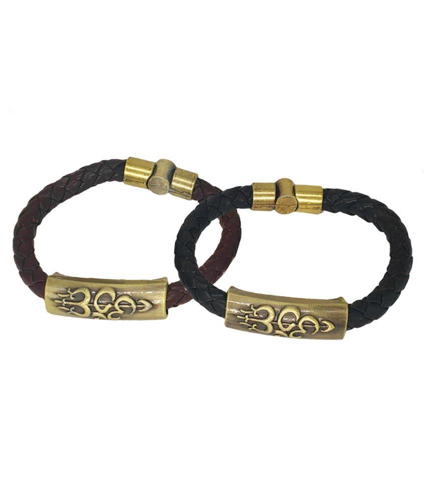 Shiv Jagdamba Om Shiva Trishula Damaru Charm ID Black Brown Gold Leather Stainless Steel Combo Bracelet