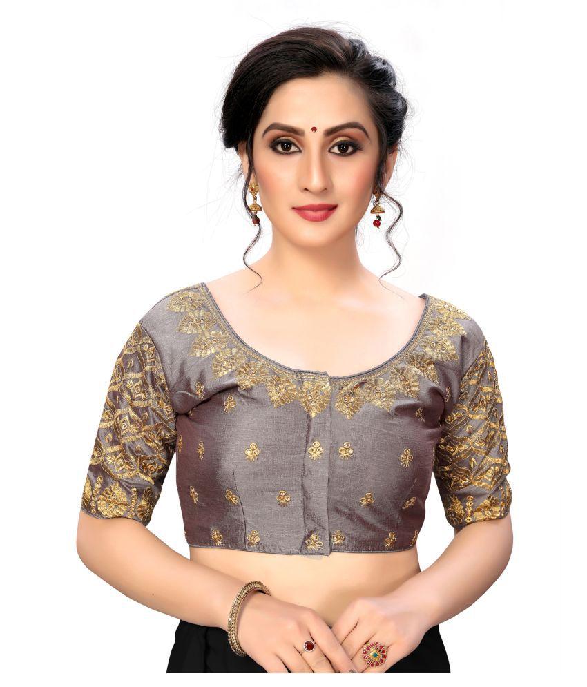 Fab Dadu Grey Silk Semi Stitched Blouse