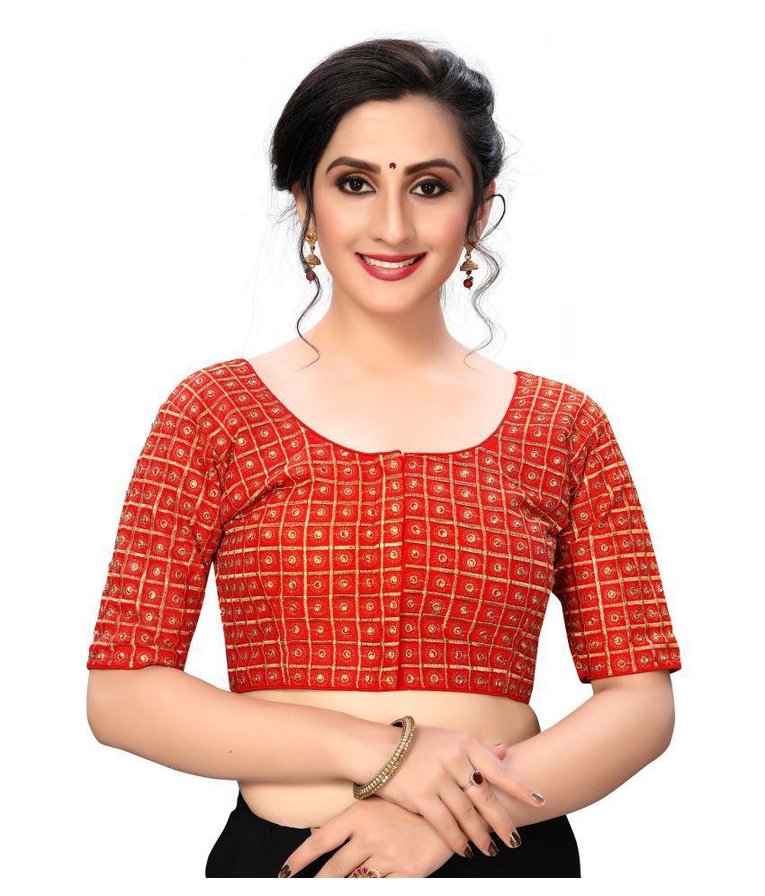 Fab Dadu Red Silk Semi Stitched Blouse