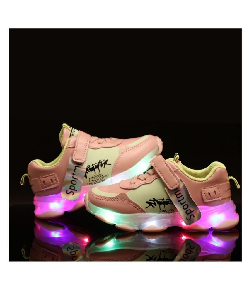 Passion Petals Sports Me Printed Led Shoes For Kids  Girls- Pink
