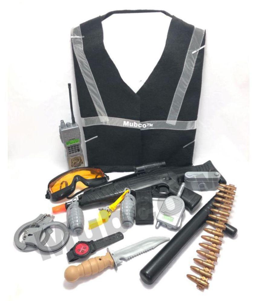 Police Set | Role Play Toys | Vest | Gun | Knife | Stick | Camera | Complete Set for Kids