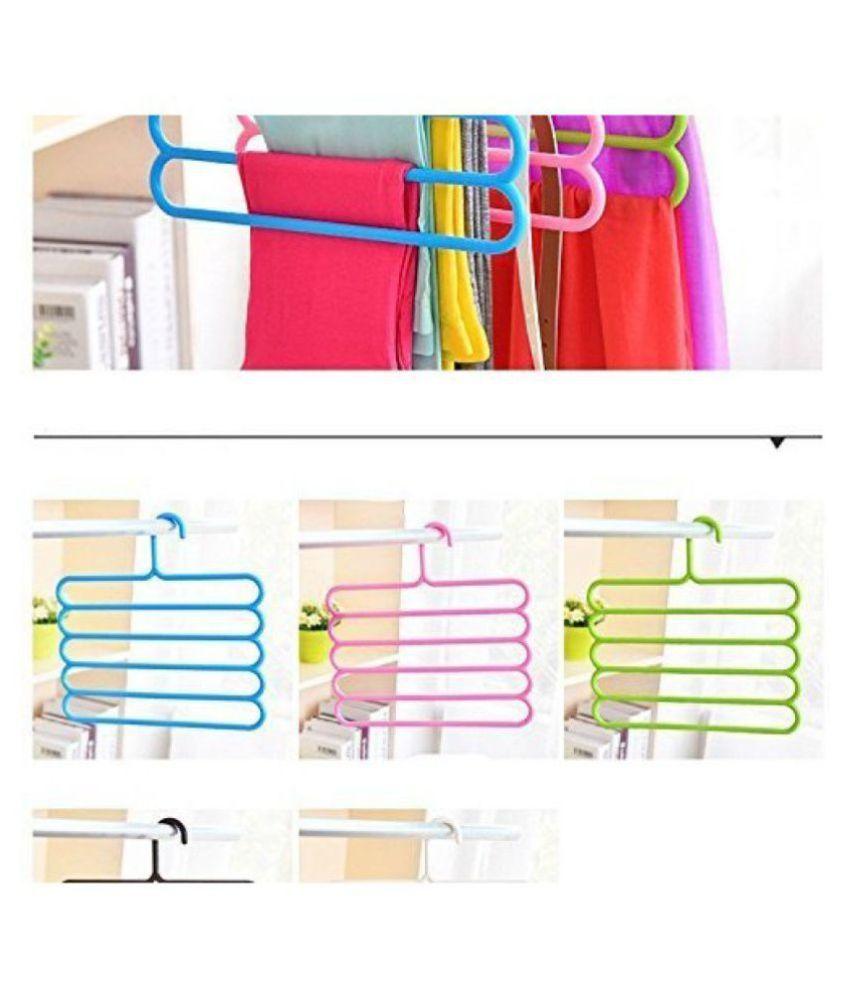 Everbuy  5 Layer Pants Clothes Hanger Wardrobe Storage Organizer Rack (Set of 4 )