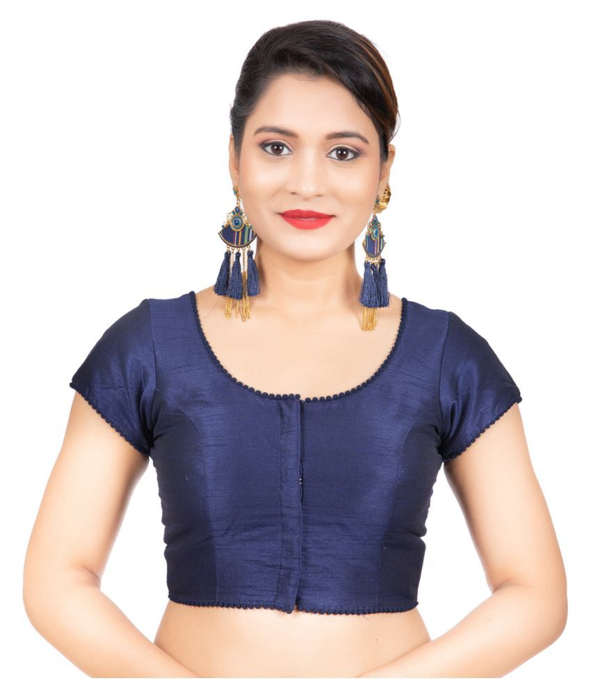 Areum Navy Art Silk Readymade with Pad Blouse