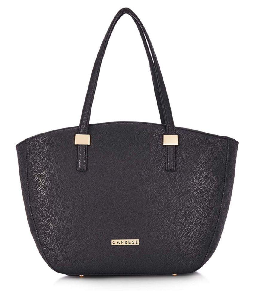 Caprese Black P.U. Satchel Bag