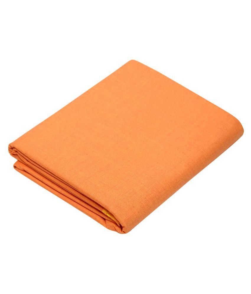 KUNDAN SUZ GWALIOR Orange Cotton Blend Unstitched Shirt pc