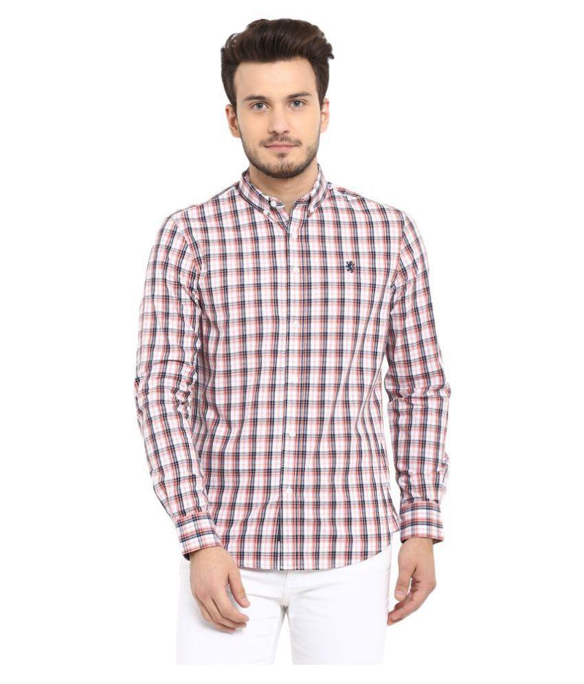 Red Tape 100 Percent Cotton Peach Checks Shirt