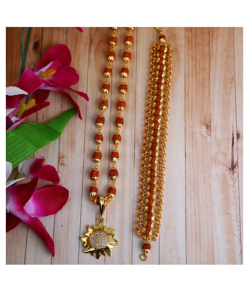 DIPALI Imitation Rudraksh Mala With BRACLET Gold Plated Inspired Pendant Set For Men BoyS