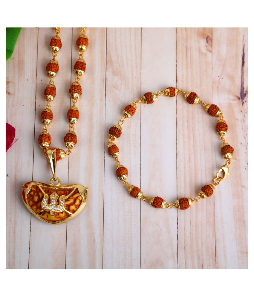 DIPALI Imitation Rudraksh Mala With BRACLET Gold Plated TRISHUL Inspired Pendant Set For Men BoyS