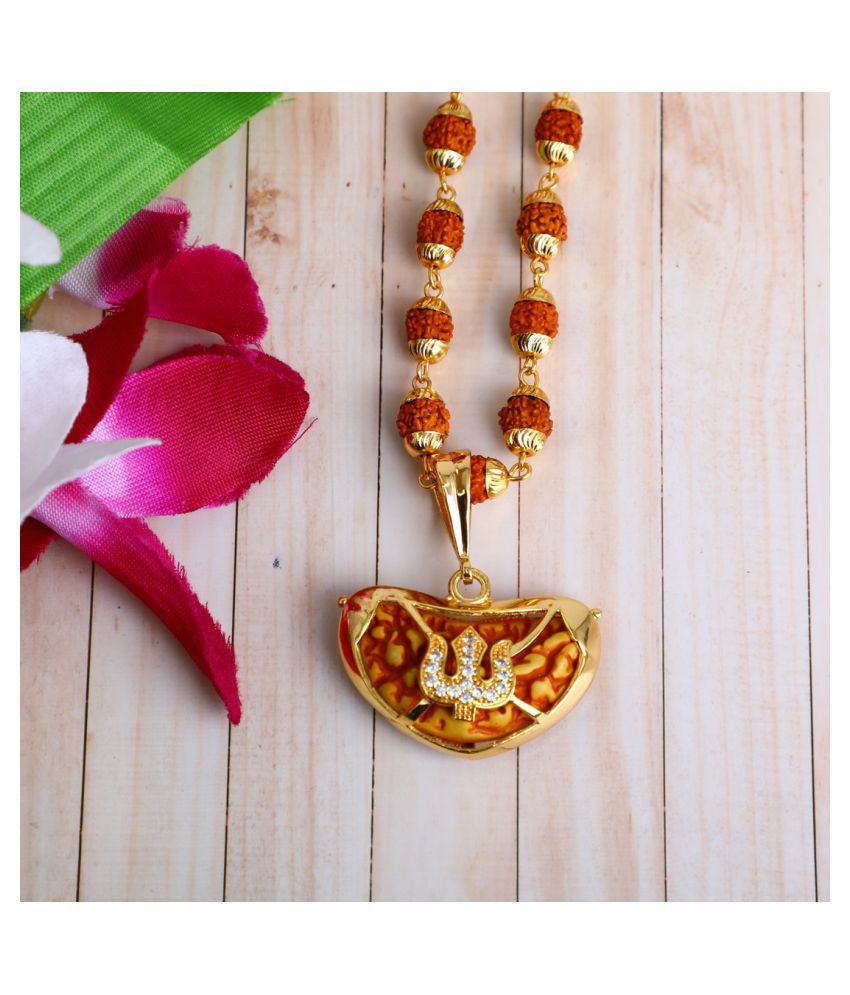 DIPALI Imitation Rudraksh Mala With Gold Plated trishul Inspired Pendant Set For Men BoyS