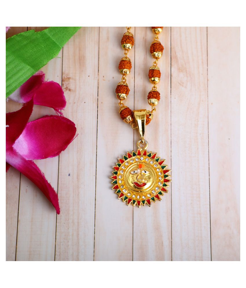 DIPALI Imitation Rudraksh Mala With Gold Plated SURYA DEV Inspired Pendant Set For Men BoyS