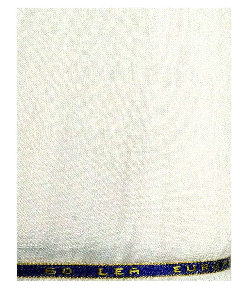 NS Fabric White Linen Unstitched Shirt pc