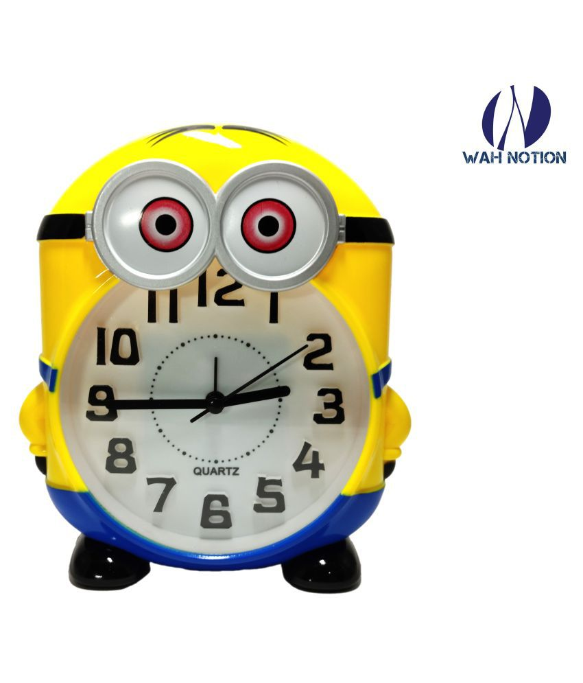 Wah Notion Minion Character Alarm Clock Yellow for Kids Stylish for Children Return Gifts