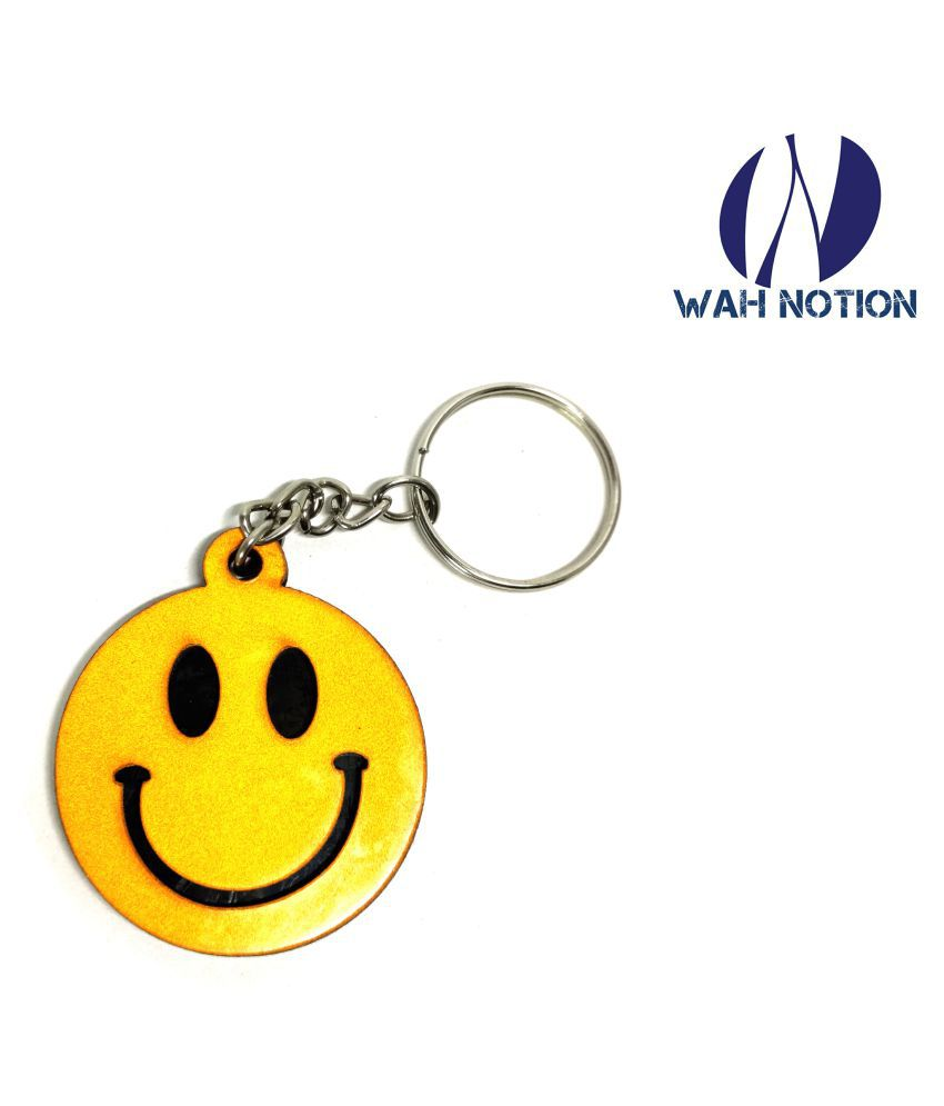 Wah Notion Wooden Keyrings Smiley Version Unique Designs For Return Gift Color Wooden Brown