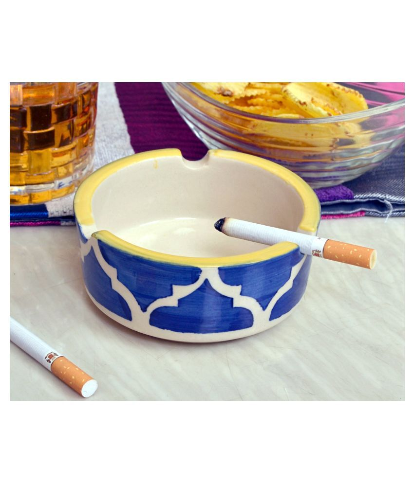 KITTENS Ceramic Ash Tray Hand painted in Floral Blue   Set of 1