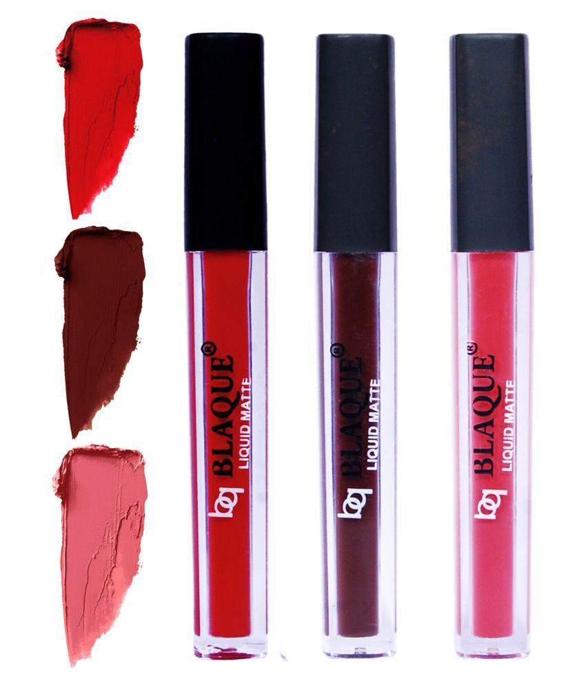 bq BLAQUE Matte Lipstick Combo of 3 Lip Gloss Liquid Pinkish Peach Red Pack of 3 12 mL