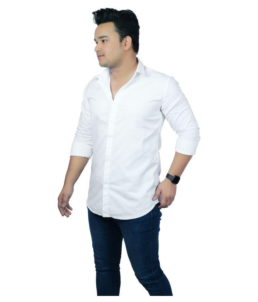 classic denim 100 Percent Cotton White Prints Shirt