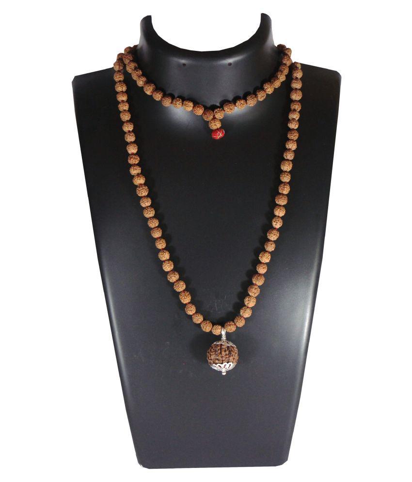 12 Mukhi Guru Mani / Bead (5 Mukhi Rudraksha Mala) Silver Cap - Lab Certified