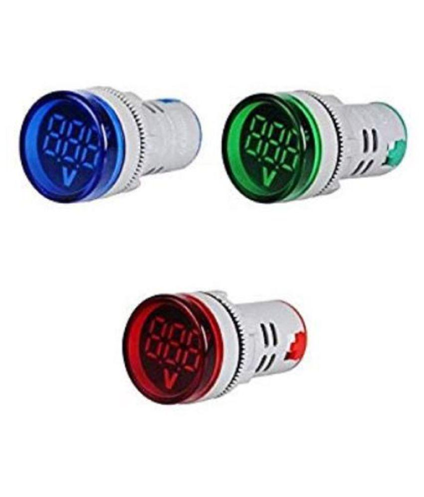 LED Digital Display Voltmeter, 22 mm Indicator Signal Lamp Voltmeter Range 60-500V AC (RBG)