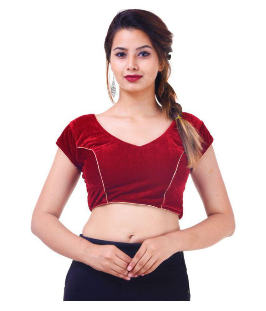 Wow Maroon Velvet Readymade with Pad Blouse