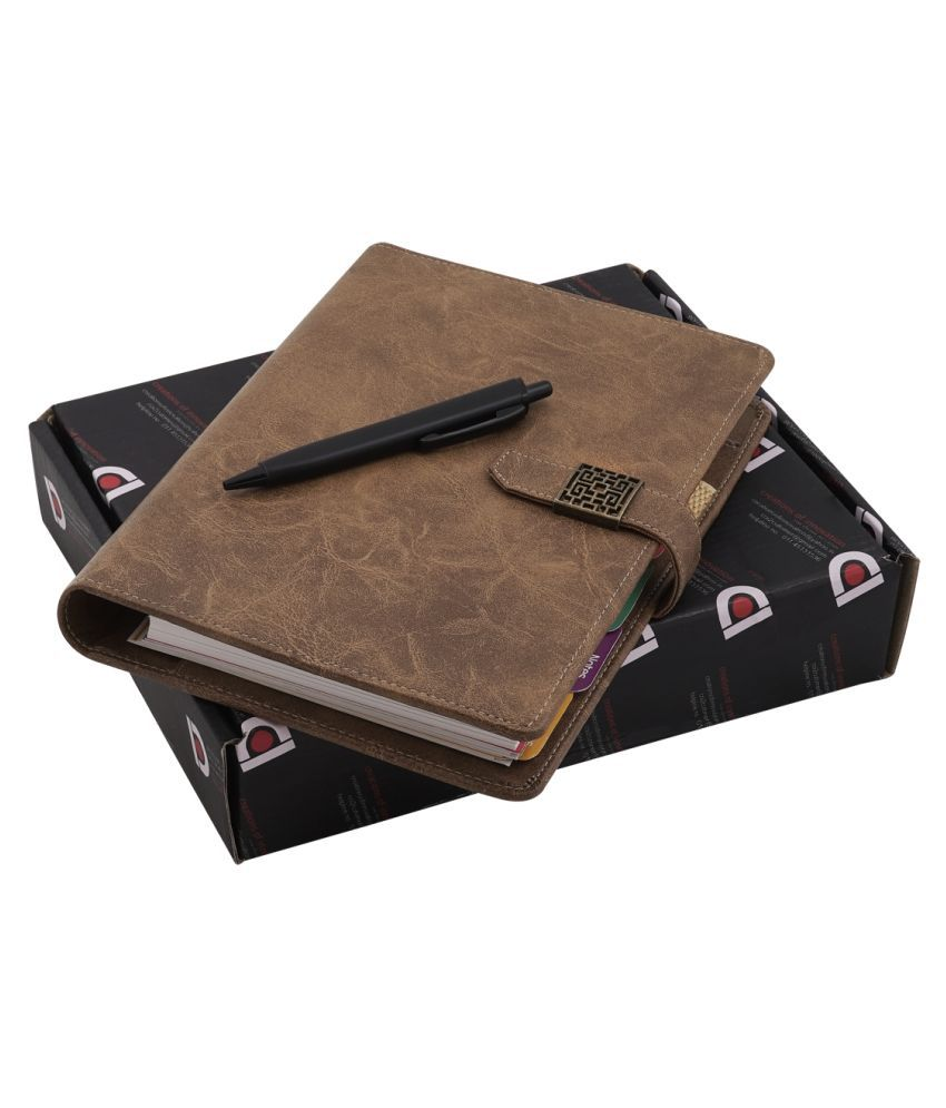 COI Planner Dated TAN Brown/Vintage Faux Leather New Year 2020, Daily, Monthly, Yearly Diary and Organiser for Office Going Mother and Father with Pen.