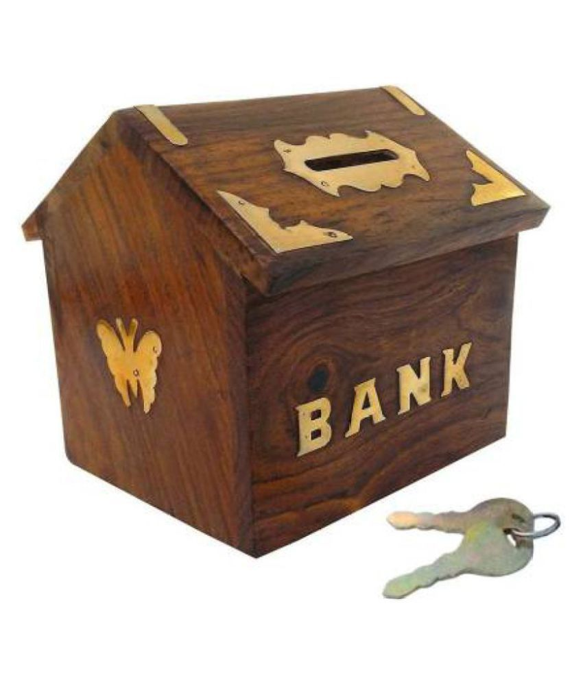 WOODS WORTH Wooden Money Bank/Piggy Bank/ Coin Collection Bank Hut Shape (Brown)