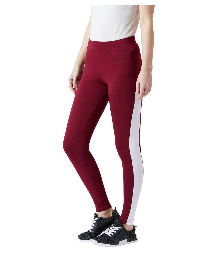 The Dry State Cotton Lycra Jeggings - Maroon