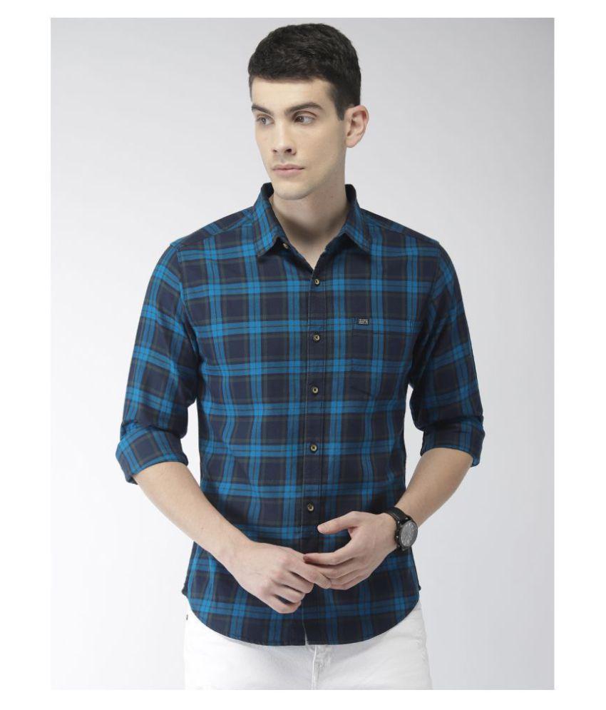 The Indian Garage Co. 100 Percent Cotton Navy Checks Shirt