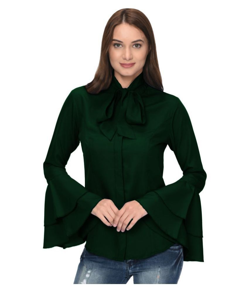 Thisbe Green Poly Crepe Shirt