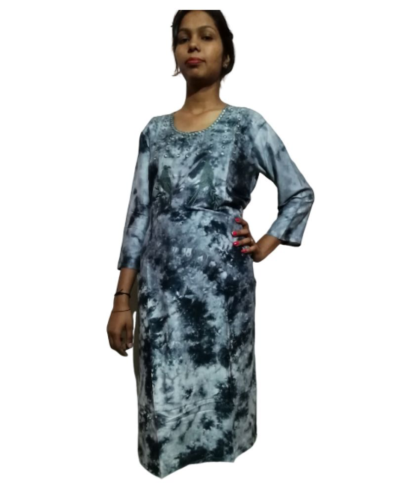 econkart Grey Cotton Silk A-line Kurti