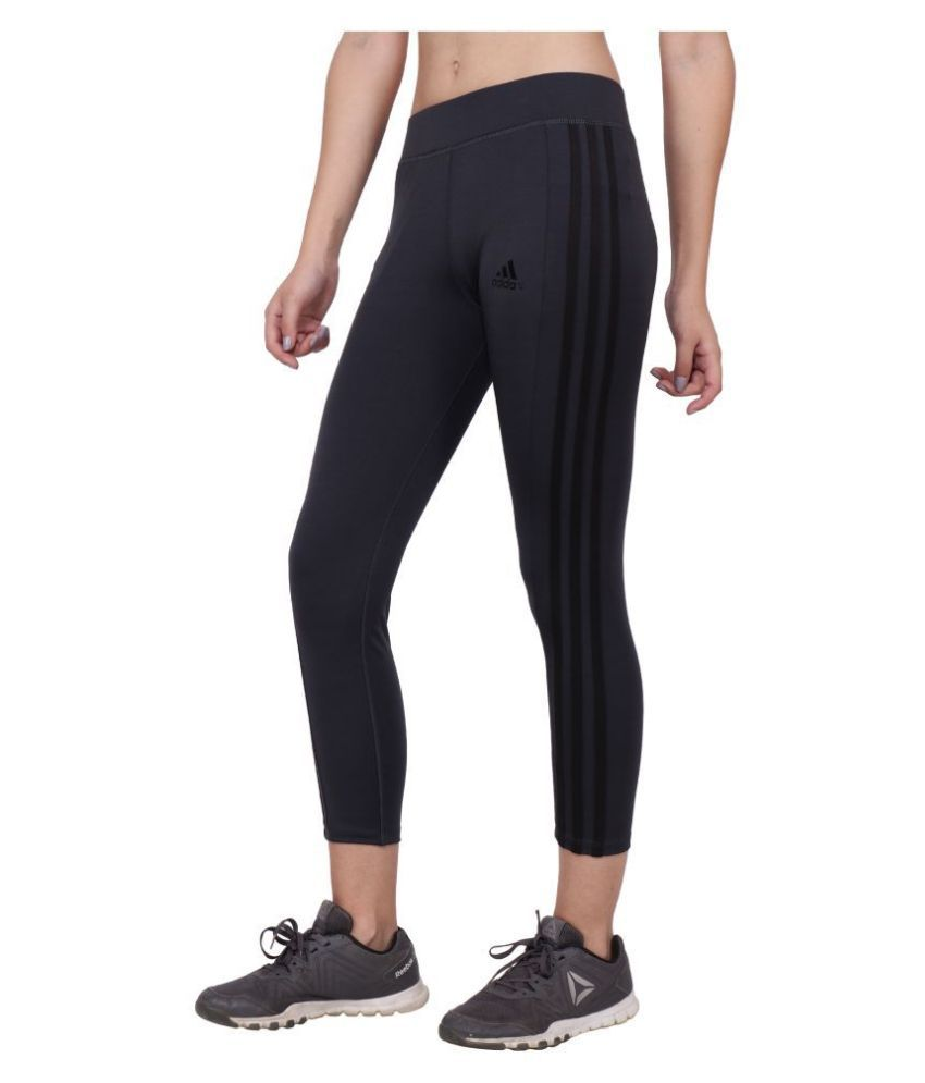 ADIDAS 2019 Gray Polyester Lycra Stripes Tights