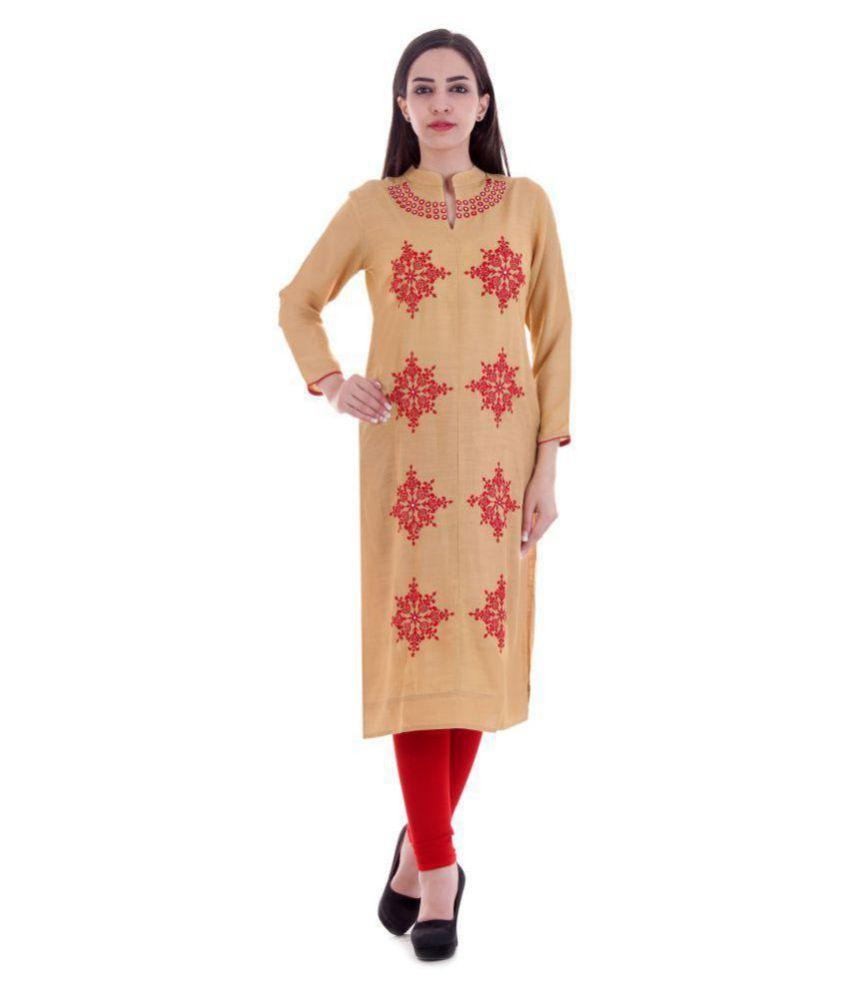 Maa Laxmi Garments Beige Rayon Straight Kurti