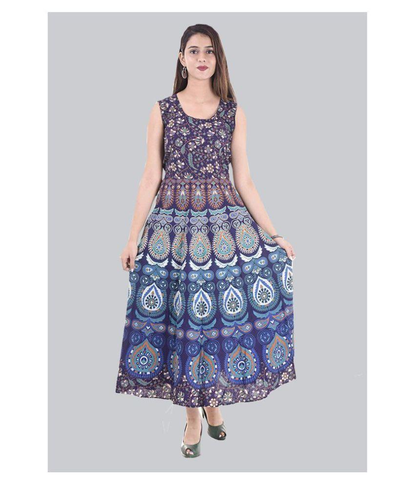 Rangun Cotton Blue A- line Dress